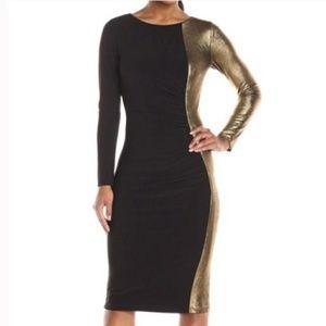 Anne Klein Metallic Ruched Sheath Dress